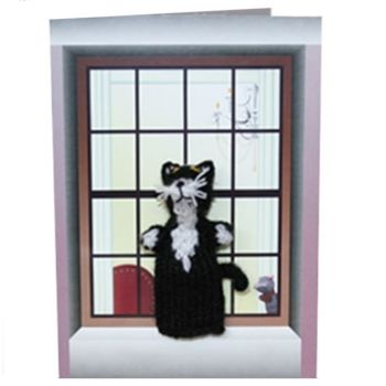 Cat Fingys - Knitted Cat Finger Puppet Greeting Card