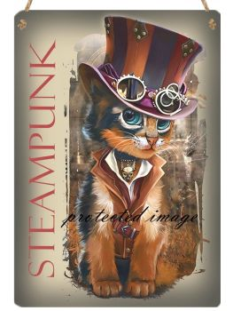 Hanging Metal Sign - Steampunk Cat