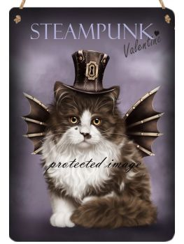 Hanging Metal Sign - Steampunk Valentine
