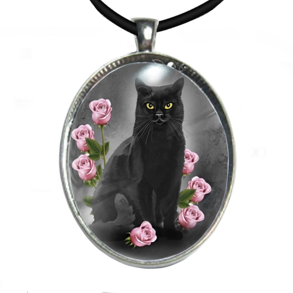 Silver Plated Large Oval Cabochon Necklace - Ophelia