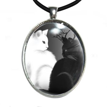 Silver Plated Large Oval Cabochon Necklace - Yin Yang