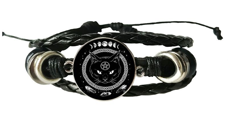 Leather Bracelet - Cat, Moon & Pentagram
