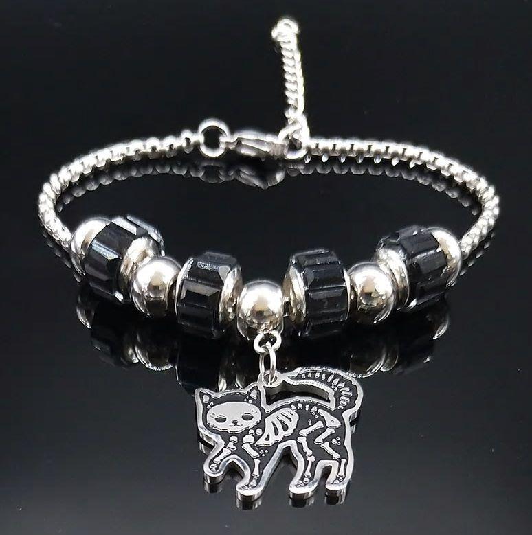 Sugar Skull Cat Chunky Bracelet