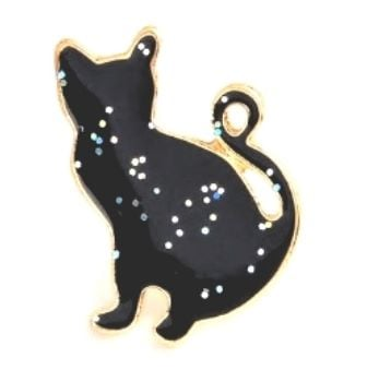 Black Cat Sparkle Badge