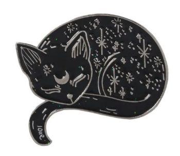 Metal Pin badge - Sleeping Moon & Stars Cat - Silver Colour