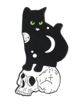 Metal Pin badge - Cat Sitting On Skull