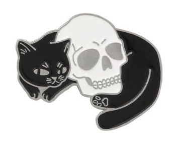 Metal Pin badge - Cat Lying With Skull