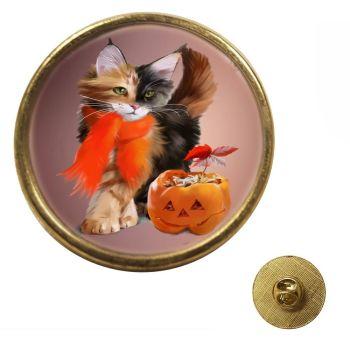 Pumpkin - Gold Colour Metal Pin Badge