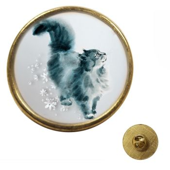 Grey Watercolour Cat - Gold Colour Metal Pin Badge