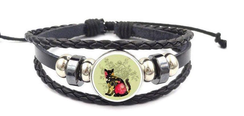Leather Bracelet - Floral Cat