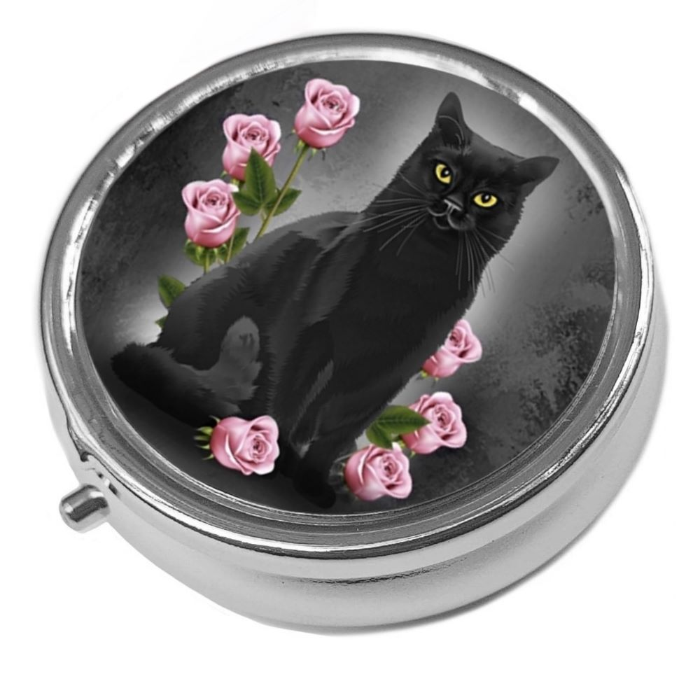 Just Looking - Black Cat & Pink Rose - Round