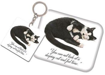 Keyring & Magnet Set - Black & White cat