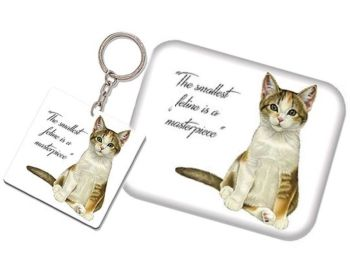 Keyring & Magnet Set - Tabby & White Kitten