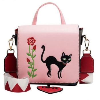 Elegant Cat Embroidered PU Leather Bag - Pink
