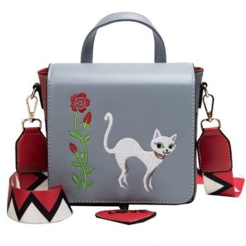 Elegant Cat Embroidered PU Leather Bag - Grey