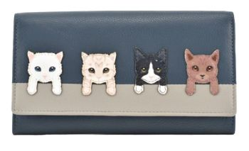 BF Cats on Wall Flap Over Purse - NAVY