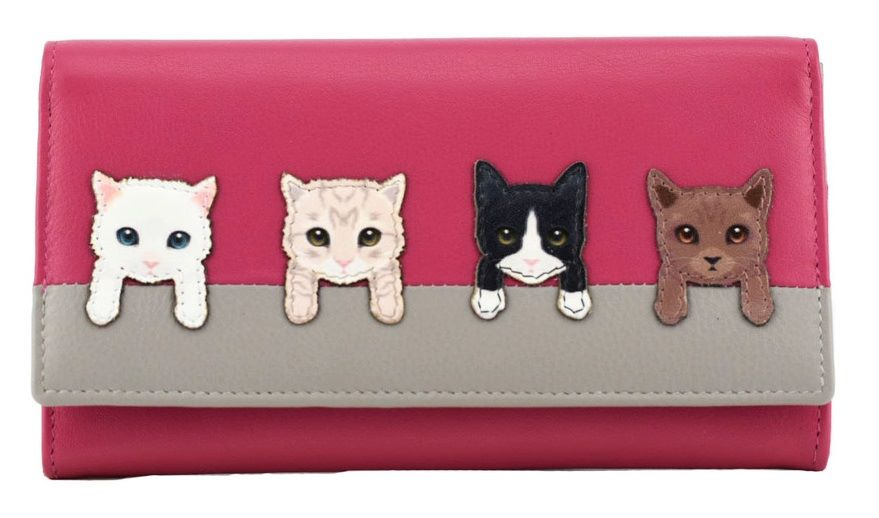 BF Cats on Wall Flap Over Purse - PINK