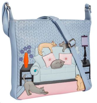 Lazy Days Cats Leather Cross Body Bag