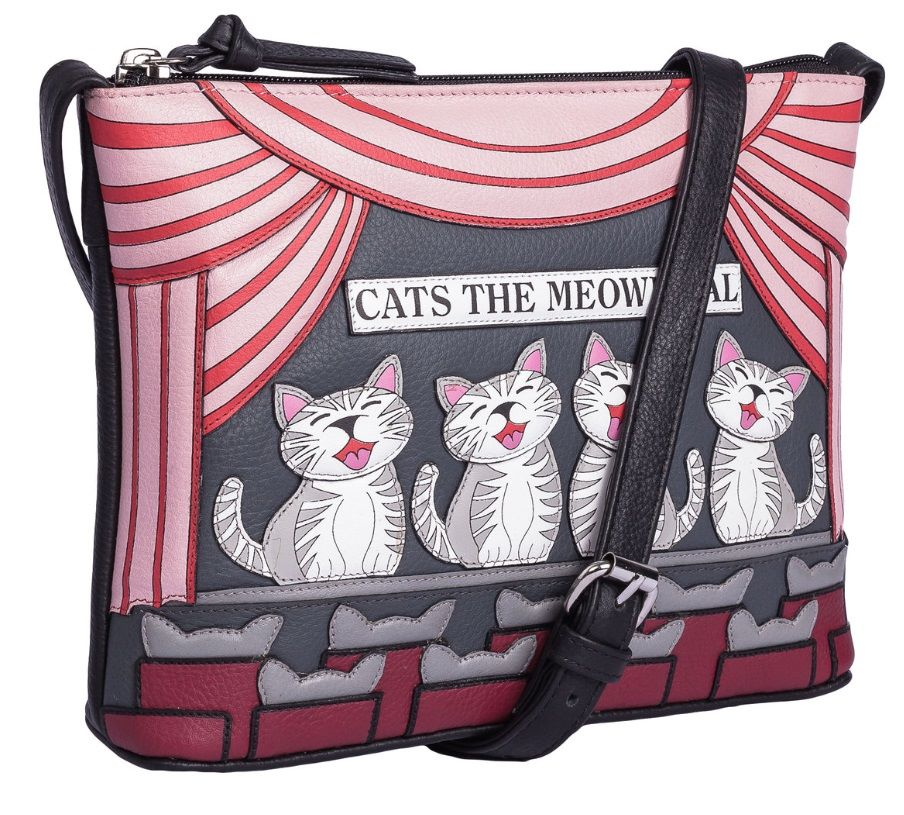 Cats the Meowiscal Midi Leather Cross Body Bag