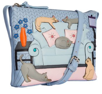 Lazy Days Cats Leather Midi Cross Body Bag
