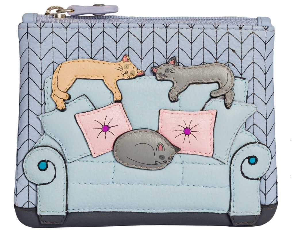 Lazy Cats Leather Coin & Card Purse