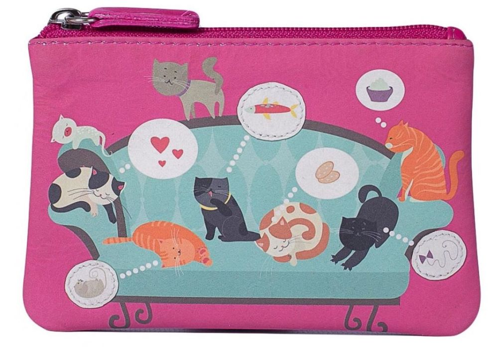 Pinky Cats on the Sofa Leather Coin Purse