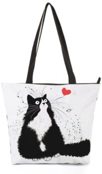 Black Cat & Heart Shopping Tote