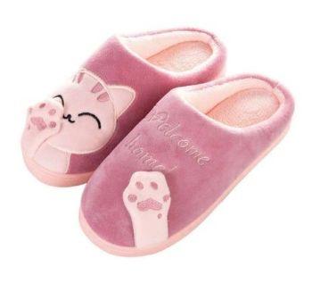 Dark Pink Cat Slippers