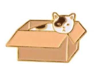 Cat In A Box Pin Badge