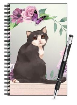 Lined Notebook & Pen Set - Black & White Cat & Butterfly