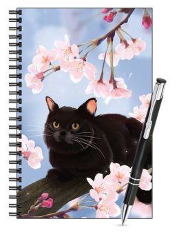 Lined Notebook & Pen Set - Black Cat in Blossom Tree
