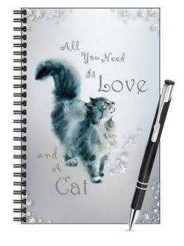Lined Notebook & Pen Set - Love & A Cat