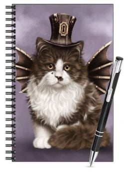 Lined Notebook & Pen Set - Steampunk Valentine