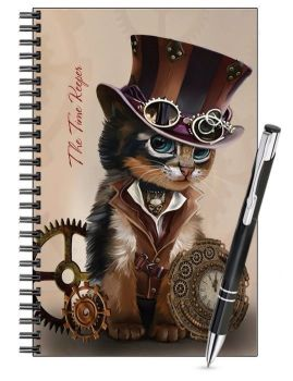 Lined Notebook & Pen Set - Steampunk Cat - Time Keeper
