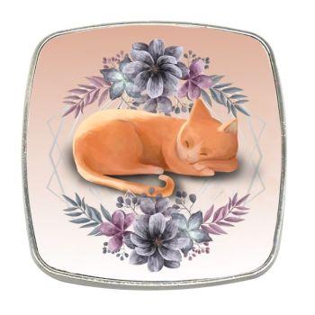 Sleeping Ginger Cat - Chrome Finish Metal Magnet