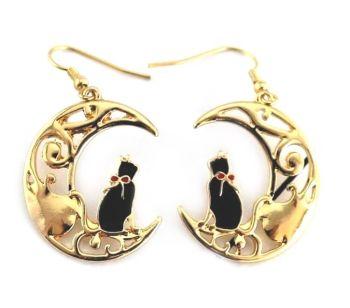Black Cat On Moon Earrings