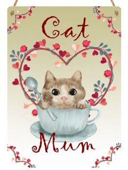Cat Mum  - Metal Hanging Sign