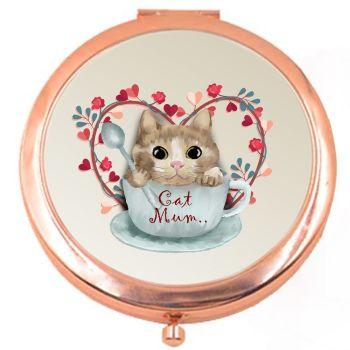 Cat Mum Rose Colour Compact Mirror