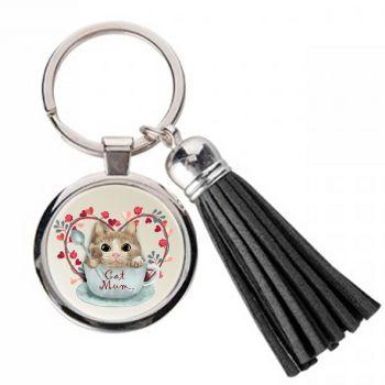 Cat Mum - Metal Keyring & Tassel