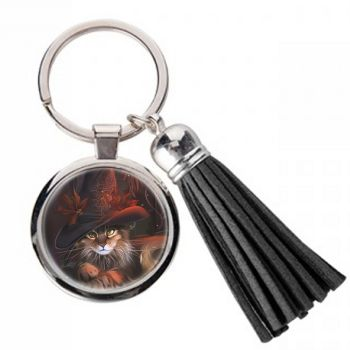 Cat In Autumn Hat - Metal Keyring & Tassel