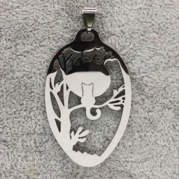 Cat In Moonlit Tree Necklace