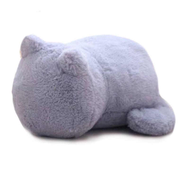 Plush Cat Shaped Cat Cushion - Grey
