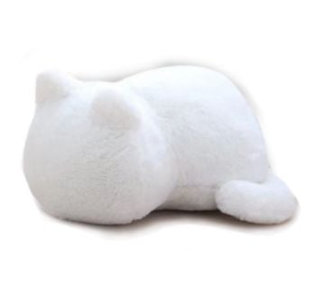 Plush Cat Shaped Cat Cushion - White