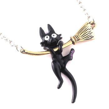 Cat On Broomstick Necklace