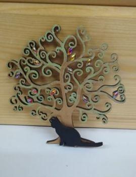 Small Curly Hanging Gem Tree - Black Cat Sitting