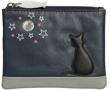 Midnight Black Cat Leather Coin & Card Purse