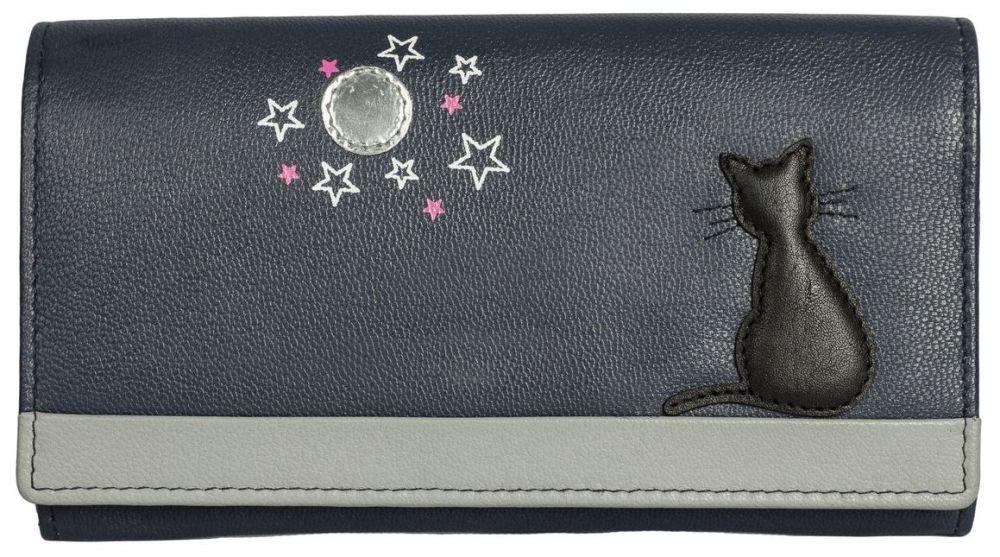 Midnight Black Cat Leather Purse