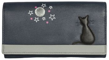 Midnight Black Cat Leather Purse