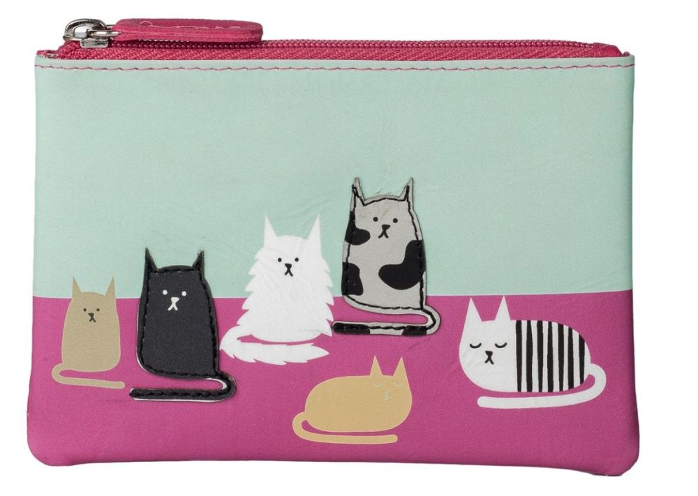 Clowder Of Cats Leather Coin Purse