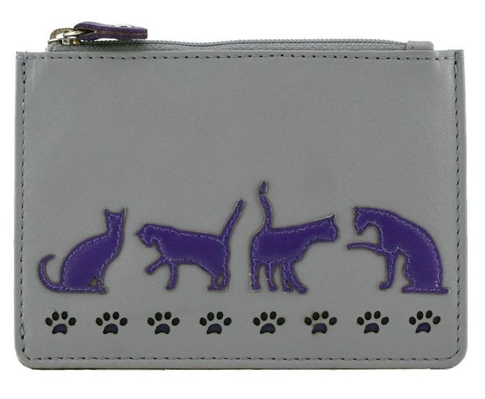 Poppy Cat Leather Coin & Card Purse Grey
